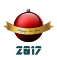 Big red christmas ball and gold ribbon Happy New vector image