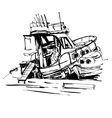 black and white ink sketch drawing of boat in vector image vector image