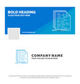 blue business logo template for code coding doc vector image