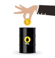 Business Hand Picking Up Gold Coin Into Oil Barrel vector image vector image