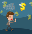 Business Man Catch Dollar Currency vector image vector image
