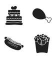 cake ham hot dog french friesfast food set vector image vector image