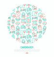 cardiology concept in circle with thin line icons vector image vector image