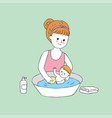 cartoon cute mom and baby washing vector image