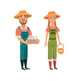 cartoon farmers vector image