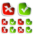 check mark stickers collection vector image vector image