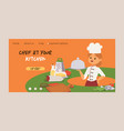 chef cook character woman or man cooking food vector image vector image