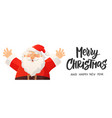 christmas banner with funny cartoon santa claus vector image vector image