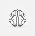 circuit board brain simple outline icon vector image vector image