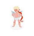 cute funny cupid with heart shaped eyes amur baby vector image