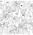Doodle seamless pattern with monsters vector image vector image
