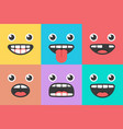 emoji smile trendy faces vector image
