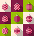 Flat icon set of christmas decorations vector image vector image
