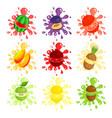 fresh fruits splashes set juicy ripe fruits vector image vector image