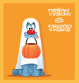 funny dog in ghost costume celebrating halloween vector image