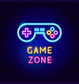 game zone neon label vector image vector image