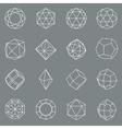 Gem crystal geometric shapes set vector image vector image