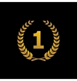 gold silhouette winner icon with number 1 vector image