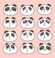 hand drawn cute panda characters set vector image vector image