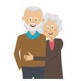happy elderly couple standing in an embrace vector image vector image