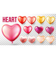 heart balloon set red and gold flying vector image