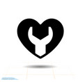 heart black icon love symbol wrench in heart vector image