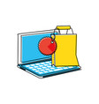 laptop computer with shopping bag vector image vector image