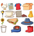 large set different animals and other objects vector image vector image