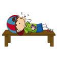 little boy listening to music vector image vector image