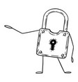 lock or padlock cartoon character pointing at vector image