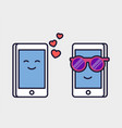 loving mobile phones romantic correspondence vector image vector image