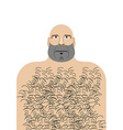 Man with bald head Hillbilly with hairy chest vector image