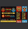 Mexican wrestler set Lucha Libre vector image vector image