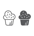 muffin line and glyph icon cake and food cupcake vector image vector image