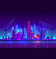 night neon city building with construction cranes vector image vector image