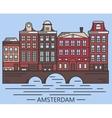 Old Amsterdam Holland houses on bridge set vector image vector image