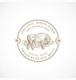 organic bison farm framed retro badge or logo vector image vector image