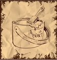 Paint bucket and brush on vintage background vector image