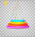 podium with light and colorful confetti vector image