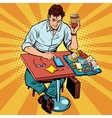 Pop art man eats lunch at a fast food restaurant vector image vector image