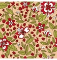 raspberry fruits and flowers seamless pattern vector image vector image