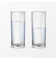 realistic glasses for drinks with water vector image
