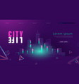 retro night city skyline in 80s 90s style vector image