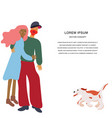 romantic couple with running dog vector image