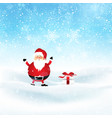 santa and gift in snowy landscape vector image vector image