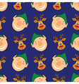 Seamless pattern with elves and deer on blue vector image vector image