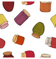 seamless pattern with jam jars home harvesting vector image vector image