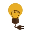 silhouette electric bulb with cord and plug vector image vector image
