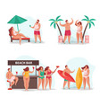 summer relax compositions set vector image vector image