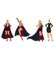 Superhero woman in cape and business suit vector image vector image